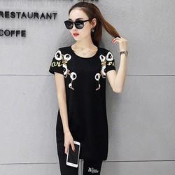 Bộ mặc nhà nữ quần lửng áo phom dài in hoạ tiết có size lớn