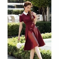 Đầm Ngọc Trinh Xếp Ly Cổ Bẻ - 2051