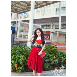 Set váy áo hoa hồng