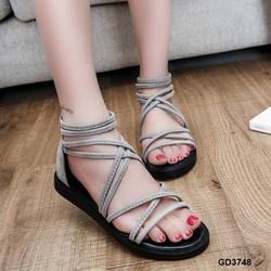 Giày sandal da lộn dây mảnh khóa kéo trẻ trung màu xám