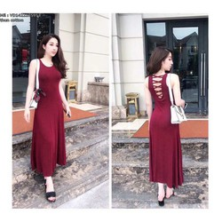 Đầm Maxi Thun Đỏ