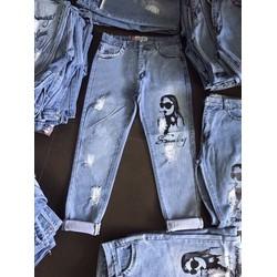 quần jean baggy nữ có hình ts