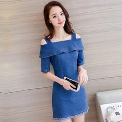 Đầm Jean Cutout Vai Lật Thời Trang - TDJ160