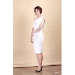 Đầm body trắng cổ lá sen 2074