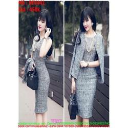Sét đầm ôm sát nách phối áo khoác màu xám đẹp thời trang SEV441