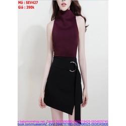 Sét áo kiểu sát nách và chân váy đắp chéo sành điệu SEV427