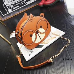 Túi xách gấu đeo kính siêu dễ thương màu cam