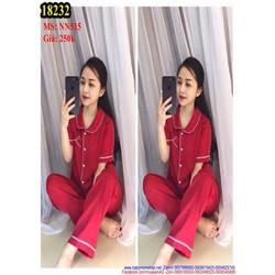 Đồ mặc nhà áo ngắn tay phối quần dài chất liệu phi cao cấp NN515