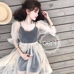 HÀNG NHẬP - Đầm ren lưới tay phồng công chúa kem