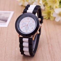 Đồng hồ nữ dây cao su 2 màu GENE siêu cá tính