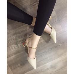 giày sandal cao gót kim tuyến quai vàng sang trọng