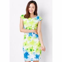 Đầm công sở cổ thuyền hoa tiết hoa xanh- Trắng Xanh