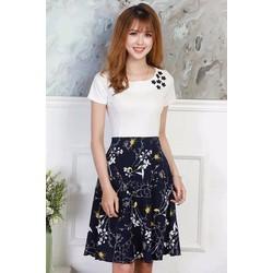 Đầm xòe áo trắng hoa nhí trắng
