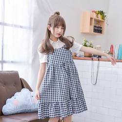 Váy yếm caro form rộng xinh xắn