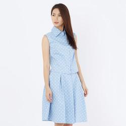 Set áo váy Fadfashion chấm bi xanh da trời