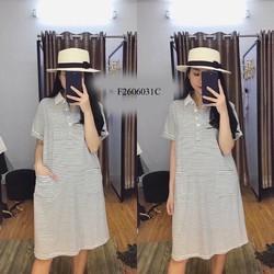 Đầm suông sọc cổ bẻ tay con hàng thiết kế - MS: S260623 Gs: 130k