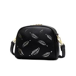 Túi xách nữ cao cấp da mềm họa tiết chiếc lá sang trọng màu đen