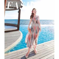 Đầm Maxi nữ họa tiết sọc màu xinh xắn