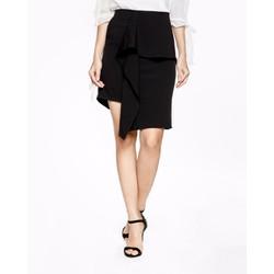 Chân váy Fadfashion màu đen vạt đắp bèo