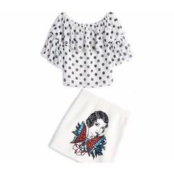 Set áo chấm bi chân váy in cô gái DNT594
