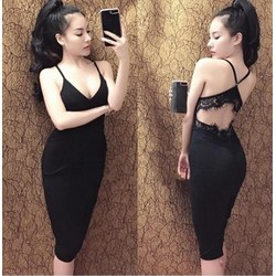 Đầm body hở lưng phối ren sexy