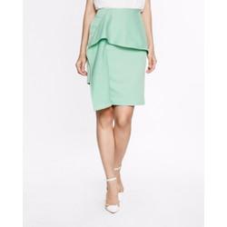Chân váy Fadfashion màu xanh ngọc vạt đắp bèo
