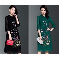 Đầm suông dáng dài họa tiết MS399
