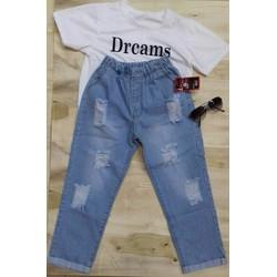 QUẦN JEAN LỬNG quần baggy LƯNG THUN NỮ