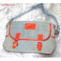 Túi đeo đi học đi chơi vải jean 2 khóa gài bụi bặm TDHDC13