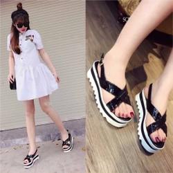 Giày sandal bánh mì kép quai chéo | giày sandal nữ đế bánh mì