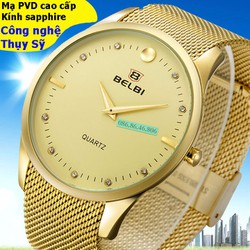 Đồng hồ kim cao cấp mạ PVD vàng mặt sapphire chống nước Thụy Sĩ