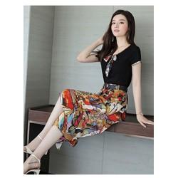 Hàng Nhâp - Sét áo thun + quần ống rộng họa tiết kèm nịt  cao cấp