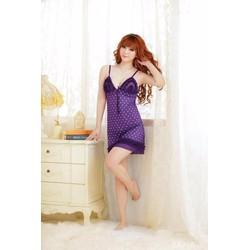 Đầm ngủ Nữ tính họa tiết Chấm bi Violet