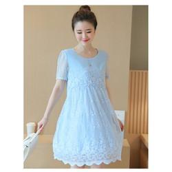 Đầm bầu voan xanh