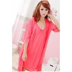 Đầm ngủ kèm áo khoác Trung Niên Thun mát Pink CDAN15