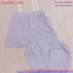 Bộ đồ ngắn mặc nhà hình chấm bi trắng đáng iu SN59