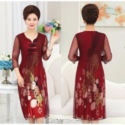 Đầm suông phi lụa dập ly phối lưới DS49 - Free Size - Hàng nhập