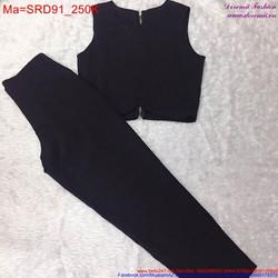 Sét áo croptop sát nách phối với quần trẻ trung, năng động SRD91
