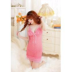 Đầm ngủ Nữ tính họa tiết Chấm bi Pink
