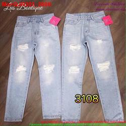 Quần jean rách nữ màu xanh nhạt thời trang QJR203