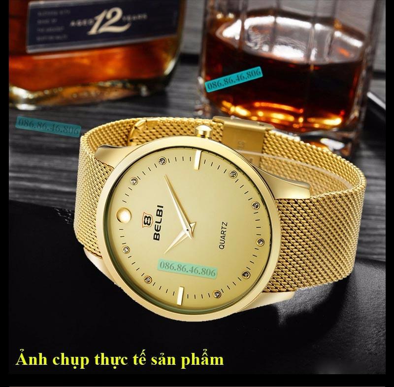 Đồng hồ kim cao cấp mạ PVD vàng mặt sapphire chống nước Thụy Sĩ 11