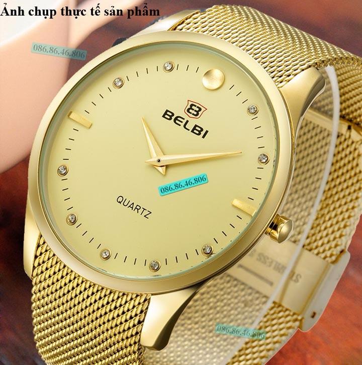 Đồng hồ kim cao cấp mạ PVD vàng mặt sapphire chống nước Thụy Sĩ 9