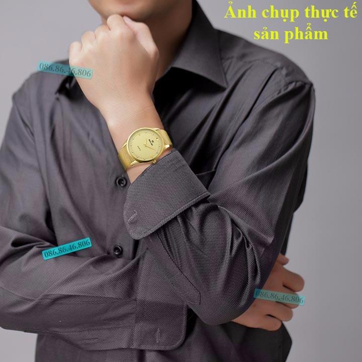 Đồng hồ kim cao cấp mạ PVD vàng mặt sapphire chống nước Thụy Sĩ 12