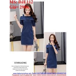 Đầm jean nữ công sở kiểu 2 dây thiết kế trẻ trung DJE112