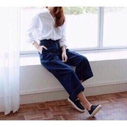 Quần jeans lửng ống rộng
