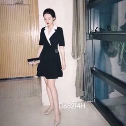 Đầm xoè cổ vest phối màu