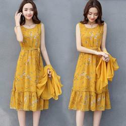 Đầm xòe dáng dài cột nơ eo Sunny kèm áo khoác Quyến Rũ