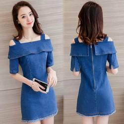 Đầm jean cutout vai lật sành điệu