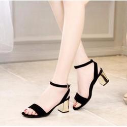 Giày cao gót quai ngang nhung hở gót vàng 7p