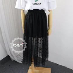 HÀNG NHẬP -Chân váy ren chấm bi BERI đen